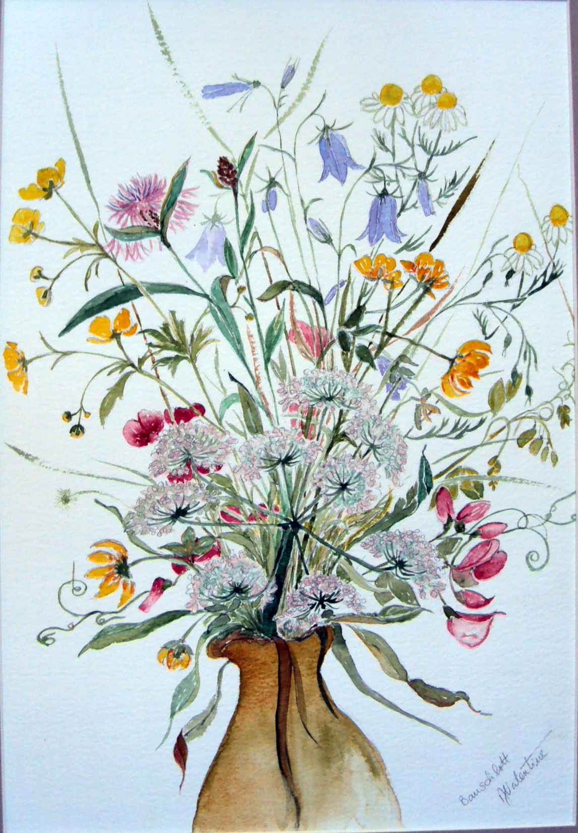Wild Flowers in Yellow Vase